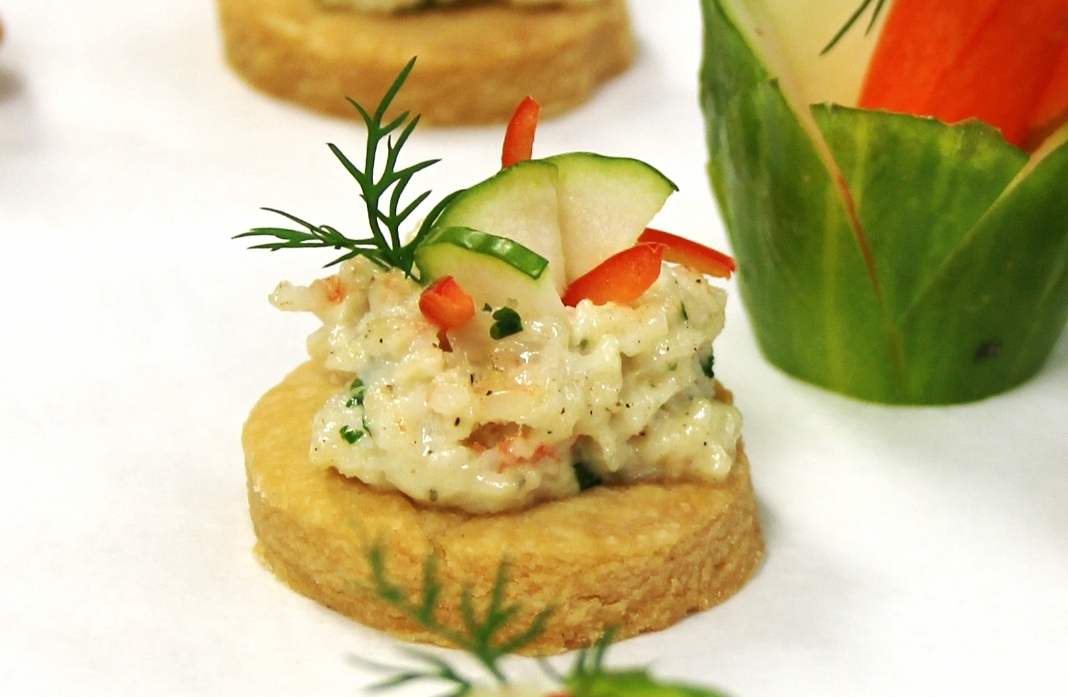 Moin Moin Bites with Minty Shrimp Topping