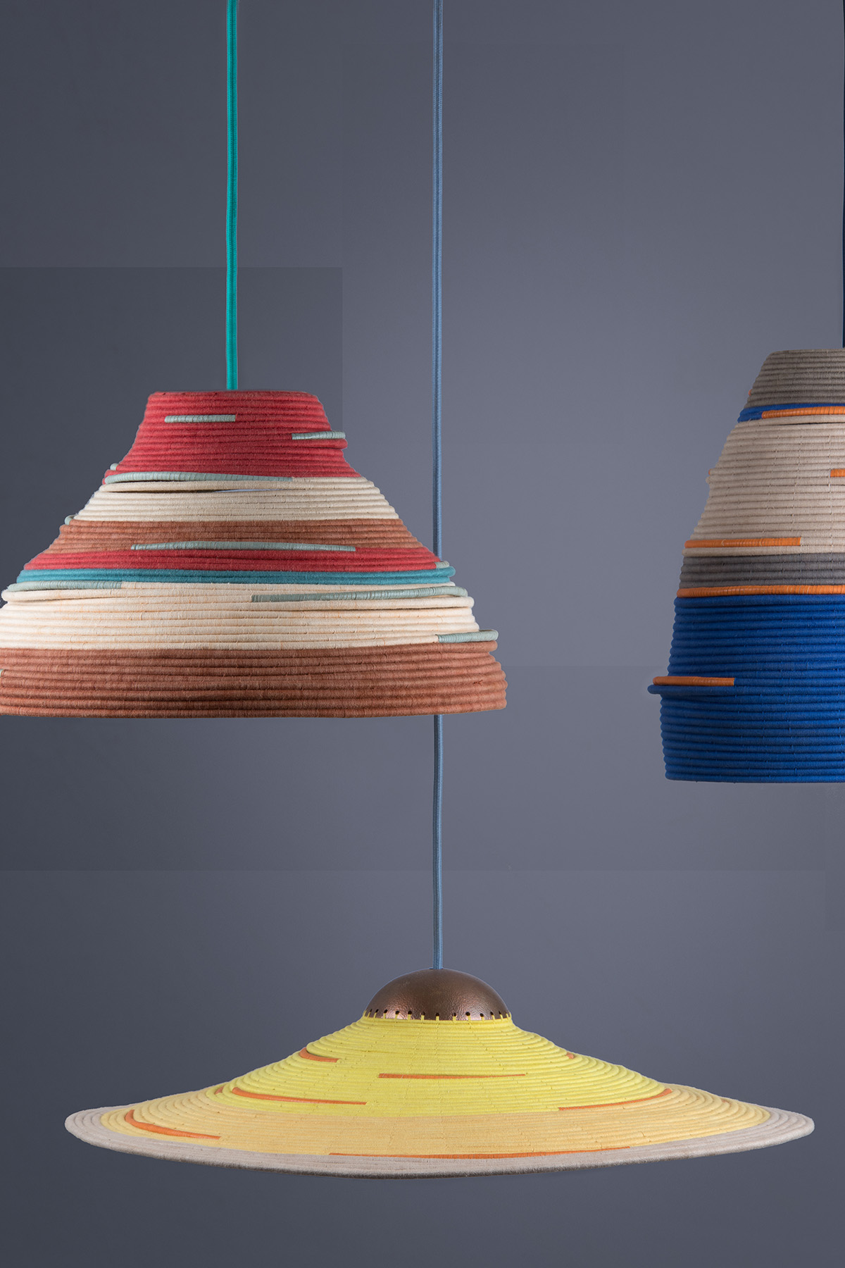 - Each lamp is handcrafted, making every piece unique, which we believe is the magic of handmade products.YarnsHand Spun organic cotton yarns.LeatherArtisanal tanned sheep hides from Burkina Faso.MetalsAll metals are hand beaten and pattern variations are the trademark of individual artisans.