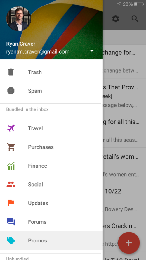 Google Inbox bundled categories