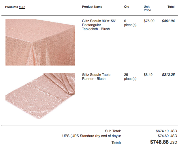 blush sequin wedding tablecloth