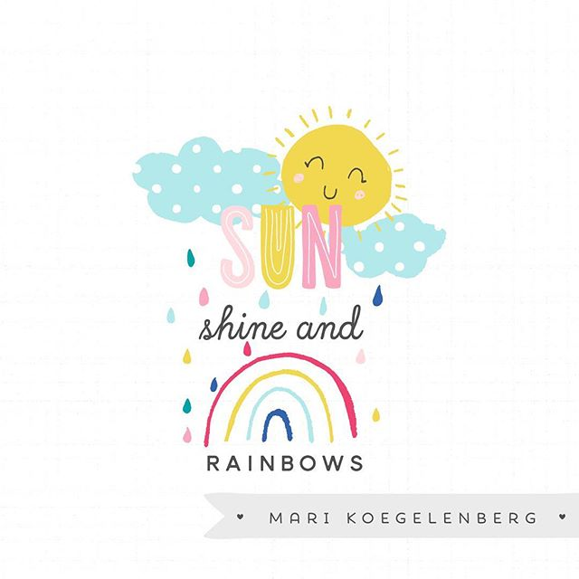 It's funny how when the sun comes out and things warm up how I get revitalized 😊 and inspired (and motivated!!!) Some fun word art and patterns and a peek at my new digital kit on sale @thedigitalpressco  this weekend ❤️ #digitalscrapbooking #marikoegelenberg #sunshine & #rainbows #illustration #surfacepattern