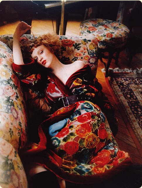 Karen Elson in Florals, Styled by Grace Coddington