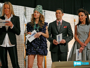 Wearstler stands out from fellow judges, wearing a funky turban and a densely textured mini dress, via BravoTV.com