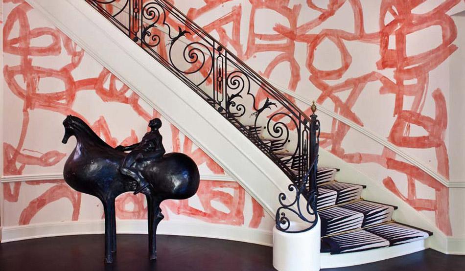 A delightfully vibrant entry way designed by Wearstler, photo  via