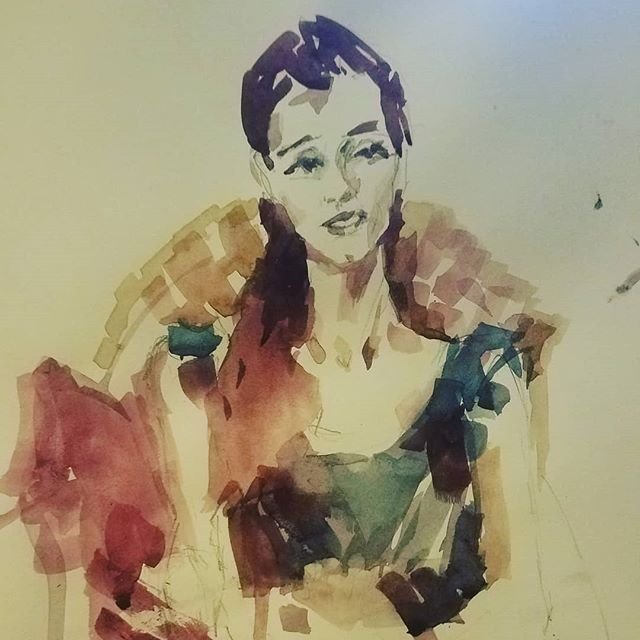 Quick watercolor sketch of one of my favorite people ever, right before we headed out for a night on the town - GUESS WHO... . . . . . .  @anondowson #watercolor #30minutesketch #bffs #portrait