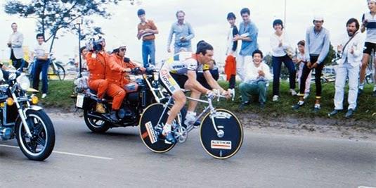 Bernard Hinault at the Clasico RCN, racing through the streets of Bogota
