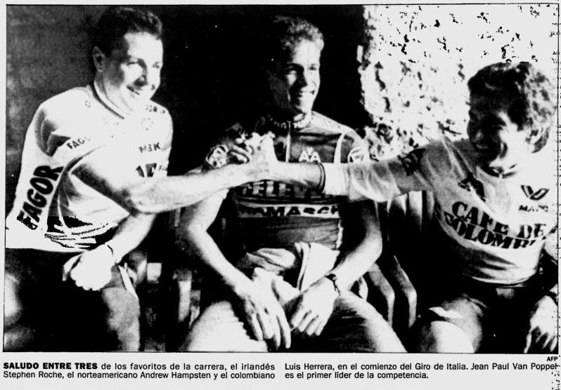 The three favorites at the Giro, Roche, Hampsten and Herrera. Later that same year, the Colombian Postobon team nearly signed Roche.