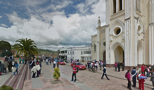Combita's main square, which you can see yourself through the magic of Google Streetview  here