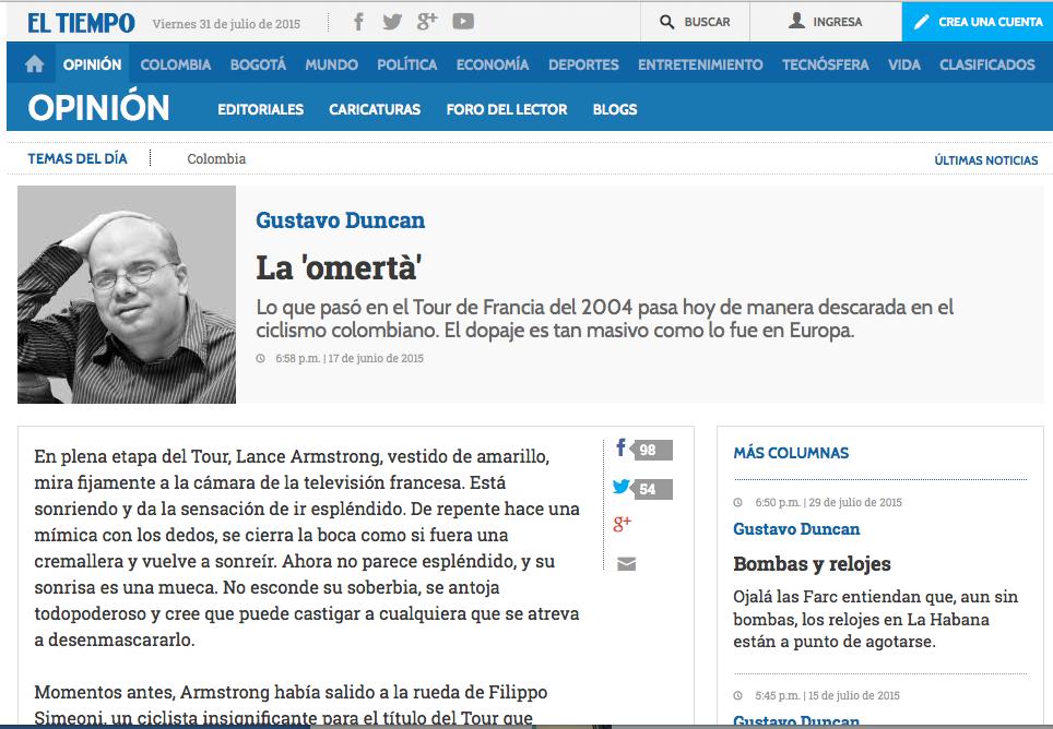 Column in the newspaper El Tiempo, regarding the threats