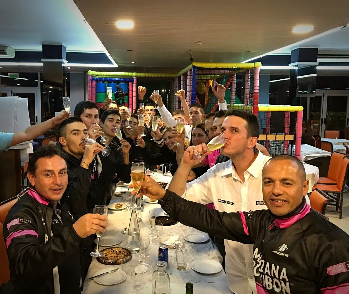The team celebrates their Vuelta a España invite during the Vuelta a Catalunya (Photo: Manzana Postobon)