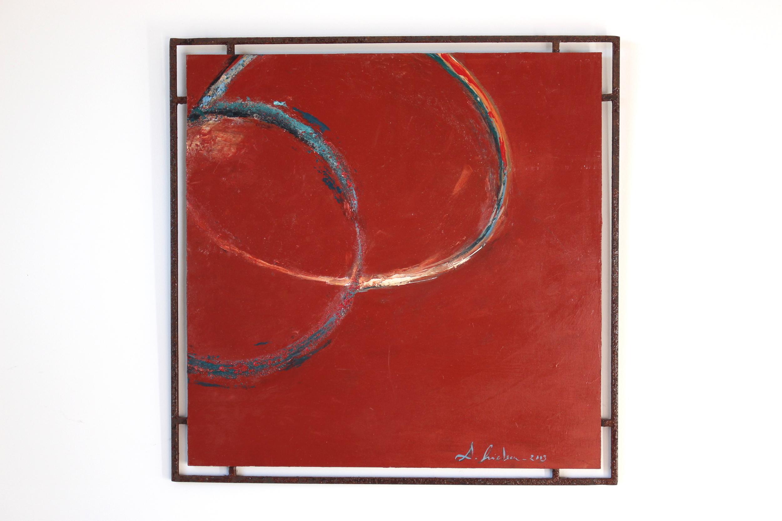 Annaux 40 x 40 cm ,Huile sur bois, encadrement en acier