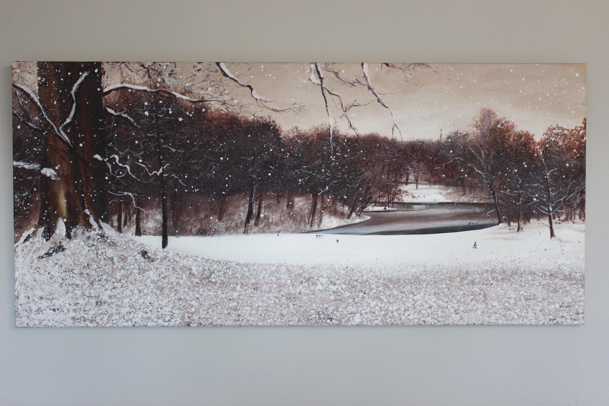 Bois de la Cambre enneigé, 130 X 60 cm.JPG