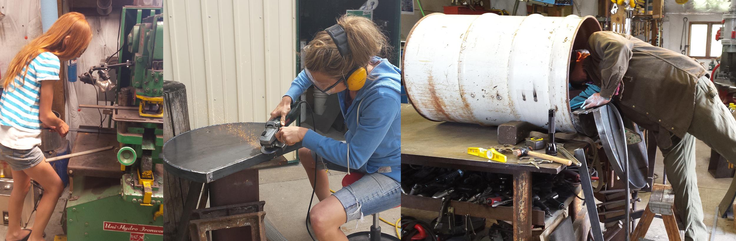 Emma cutting metal, Sarah grinding the oven door, Scott welding in the oven racks!