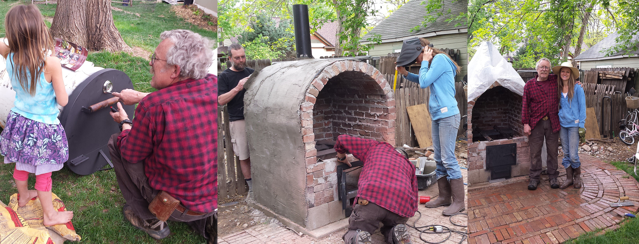Scott bringing the barrel over to set in place, welding the firebox door in, first top coat going on the brick.  Grateful to have met Scott and become friends through this project!