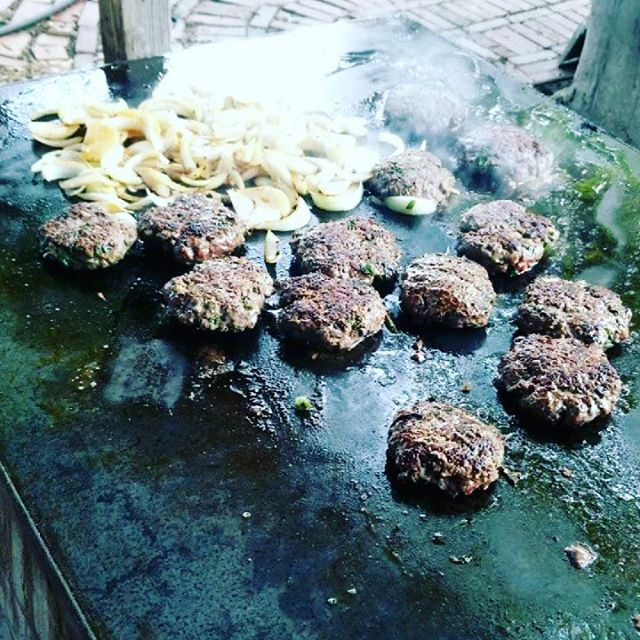 Burgers on the griddle.  The warmer weather finally arrived, and we are happy! Looking forward to lots of meals out here this summer with family and friends. . . #woodfiredgriddle #thriftygoodlife