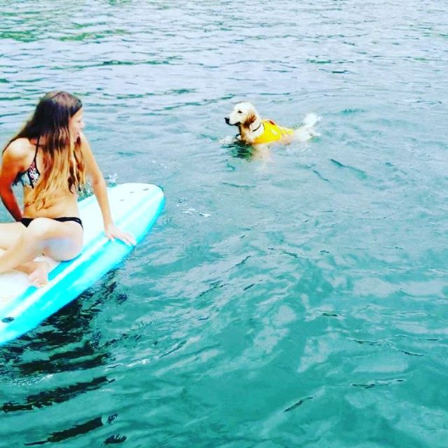 We had a blast on the lake with the kids and pups. It was Murphy's first time swimming! So fun... . #murraysailer #murphysyres  @lukesyres @linssyres