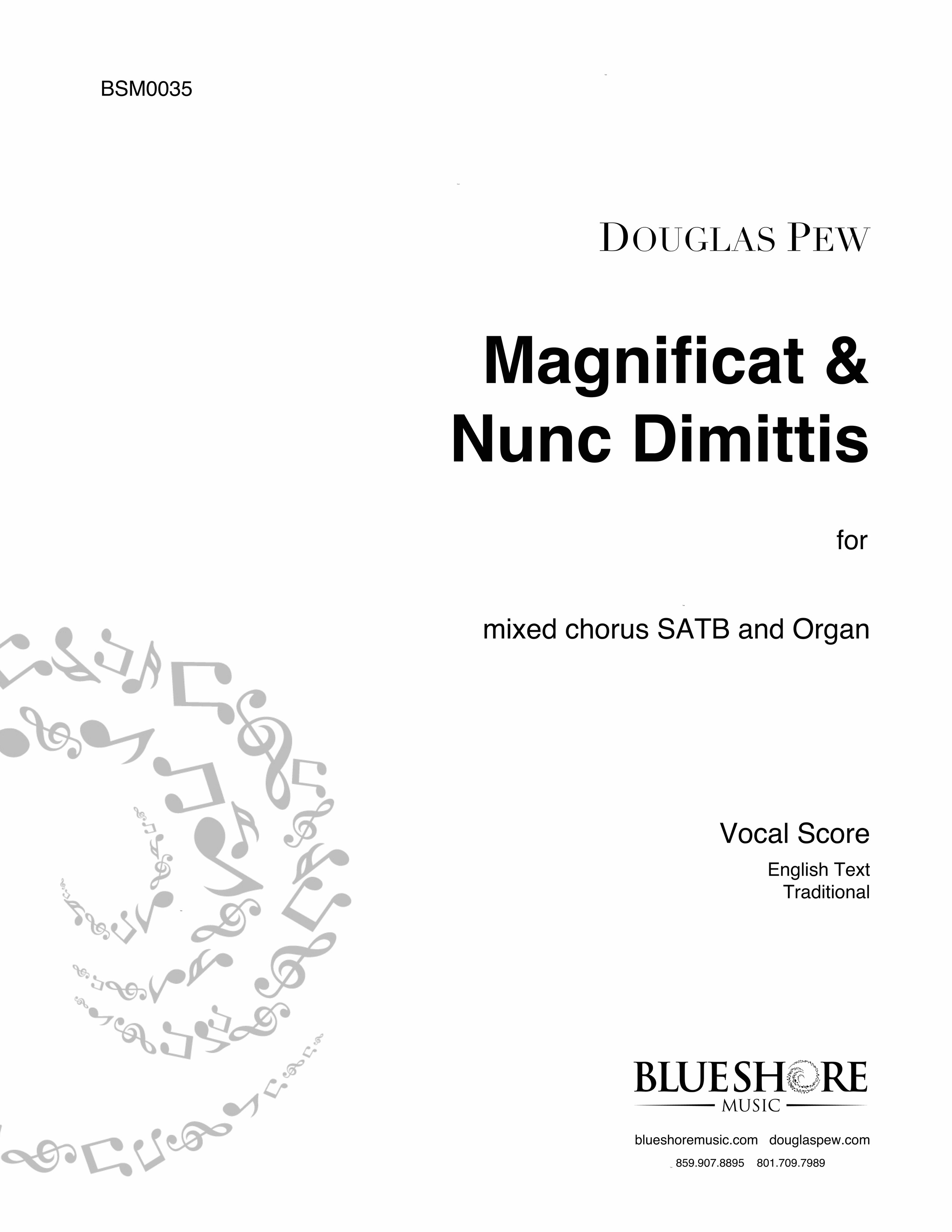 Magnificat & Nunc Dimittis    (St. Thomas Service) , for Choir SATB and Organ.