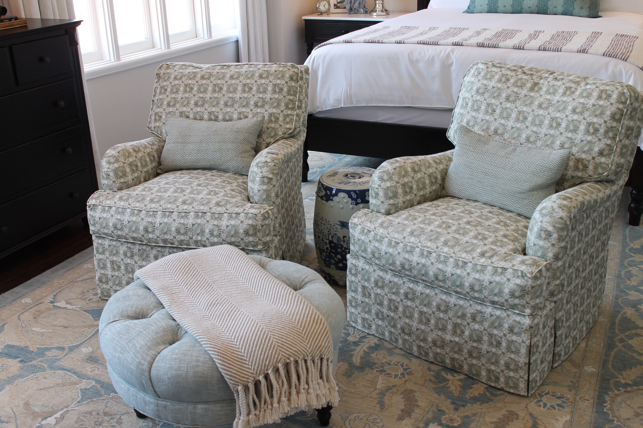 Bedroom featuring the Cambridge Chair from Rooms and Gardens