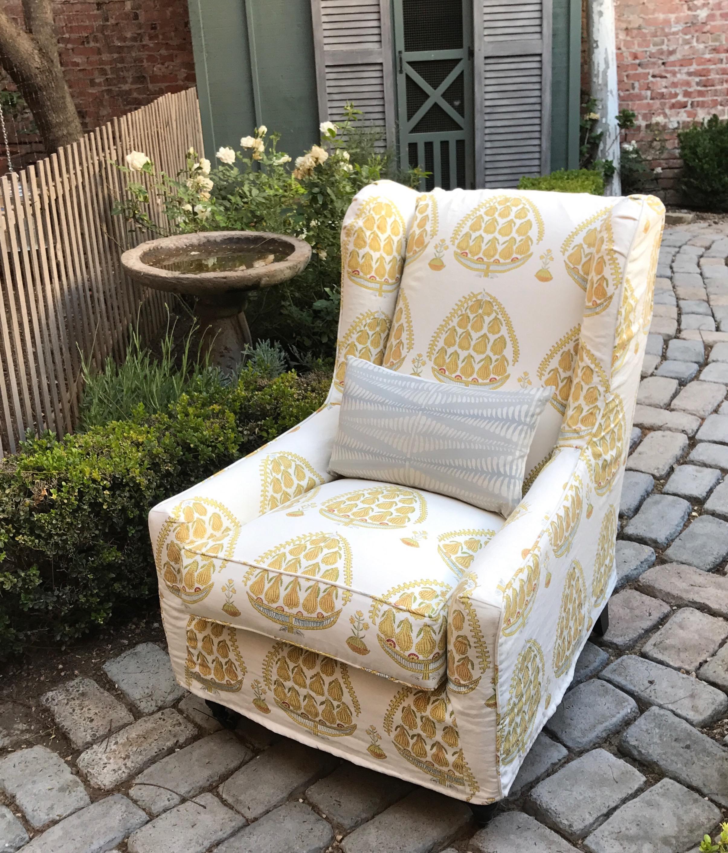 Malibu Wing Chair with custom yellow and white fabric
