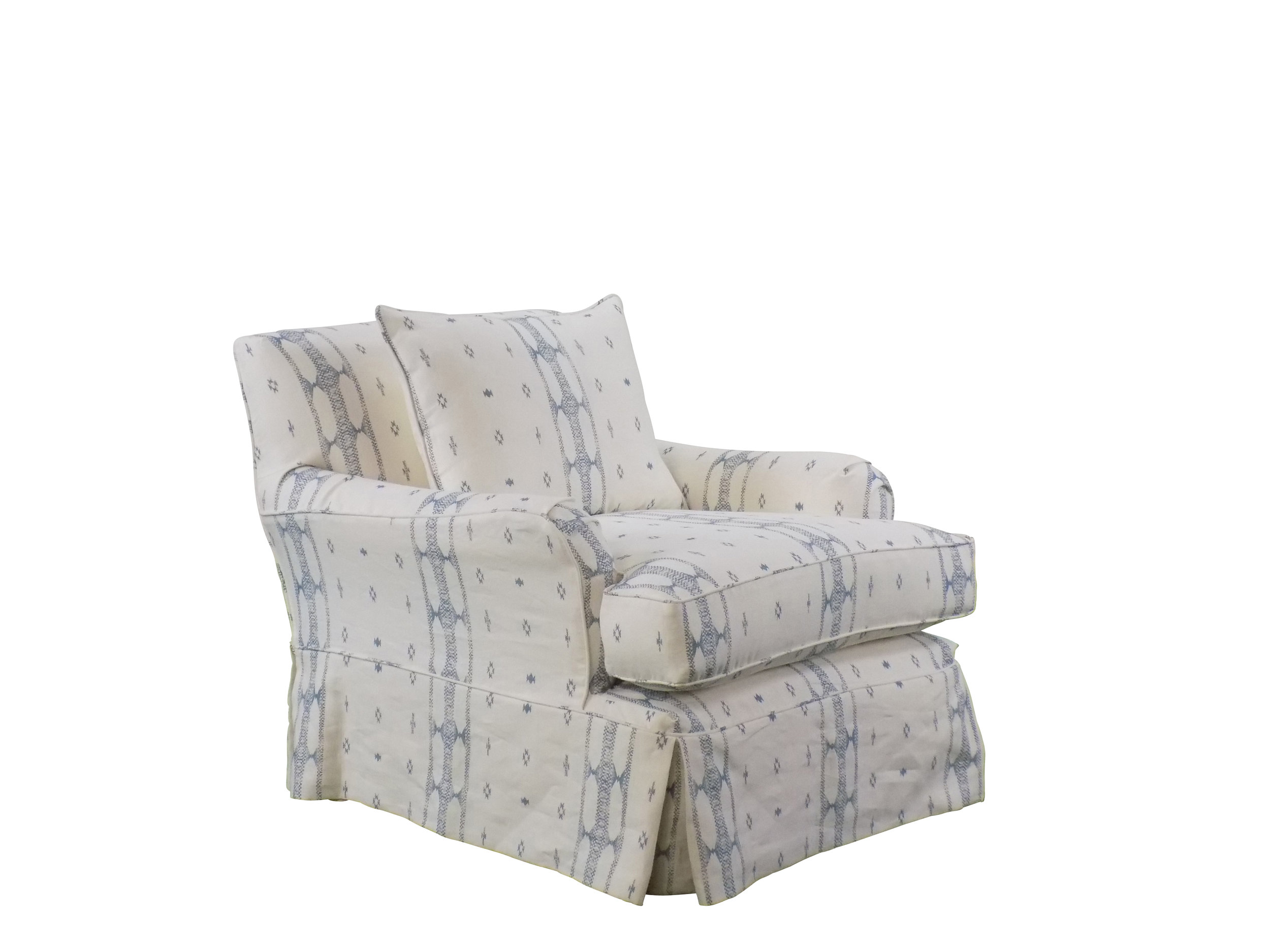 Brighton swivel chair with custom blue and white fabric