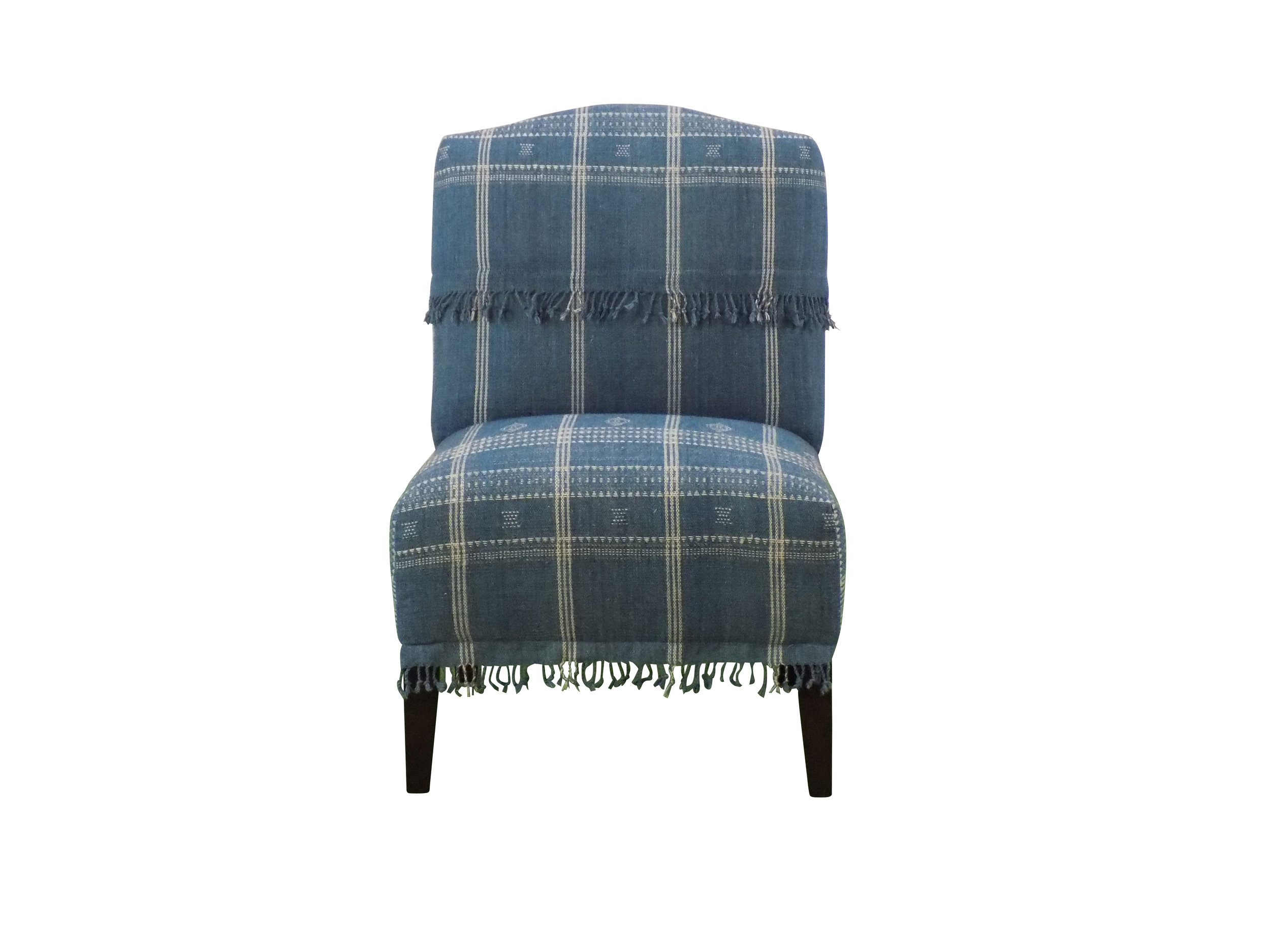 Bridgeport chair in custom blue and white fabric front view