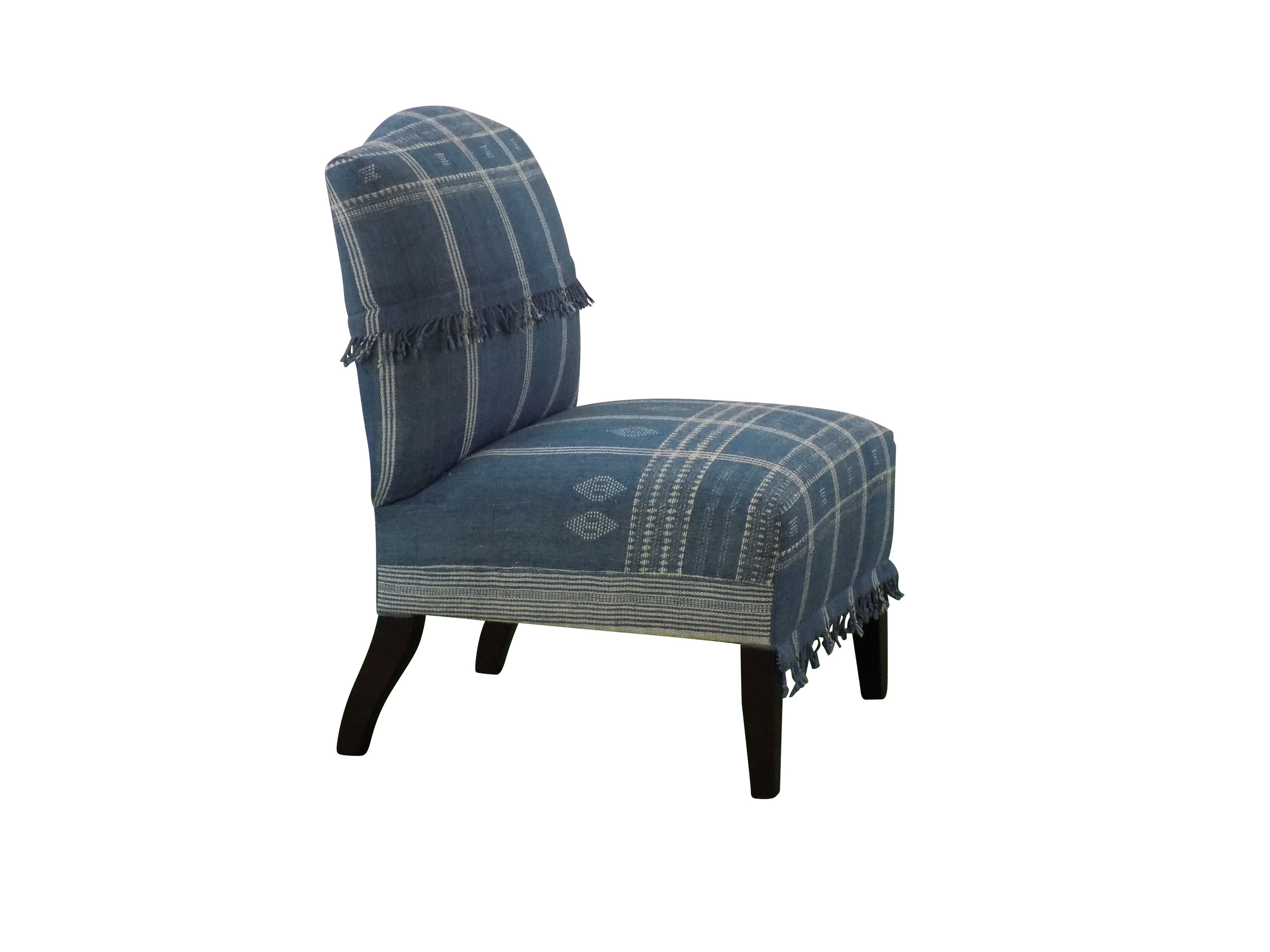 Bridgeport chair with custom blue and white fabric side view