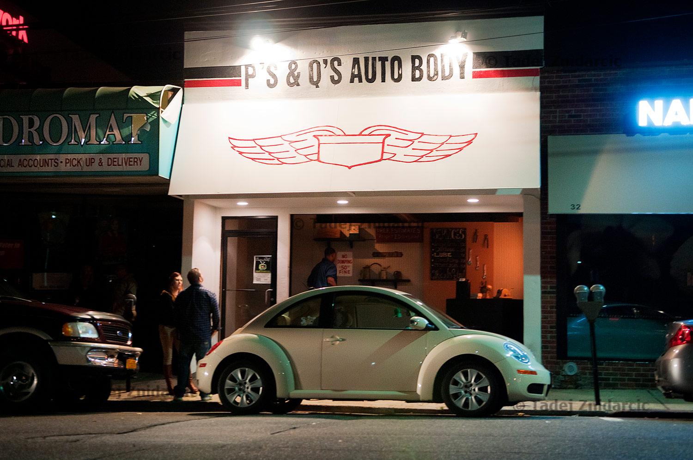 Entrance to P's & Q's Auto Body club in Huntington, Long Island.