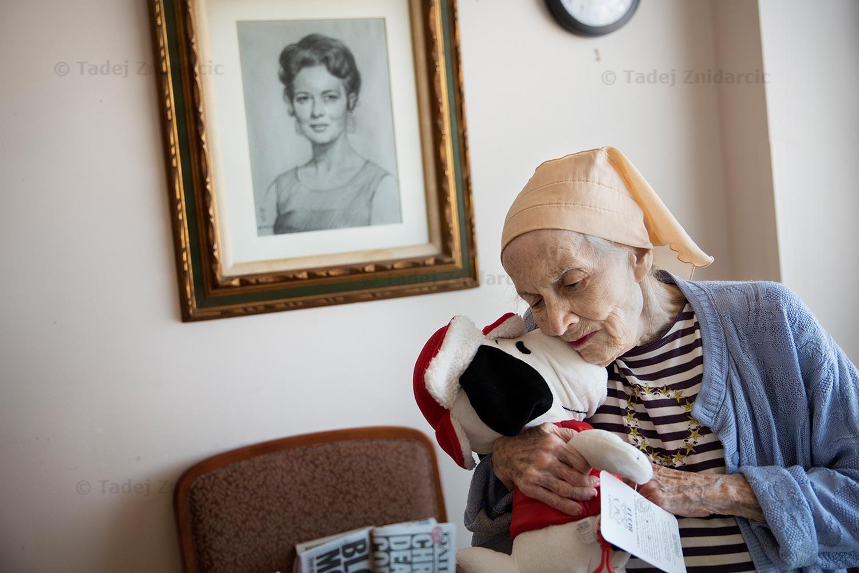 Doris in her room at nursing home in Manhattan.