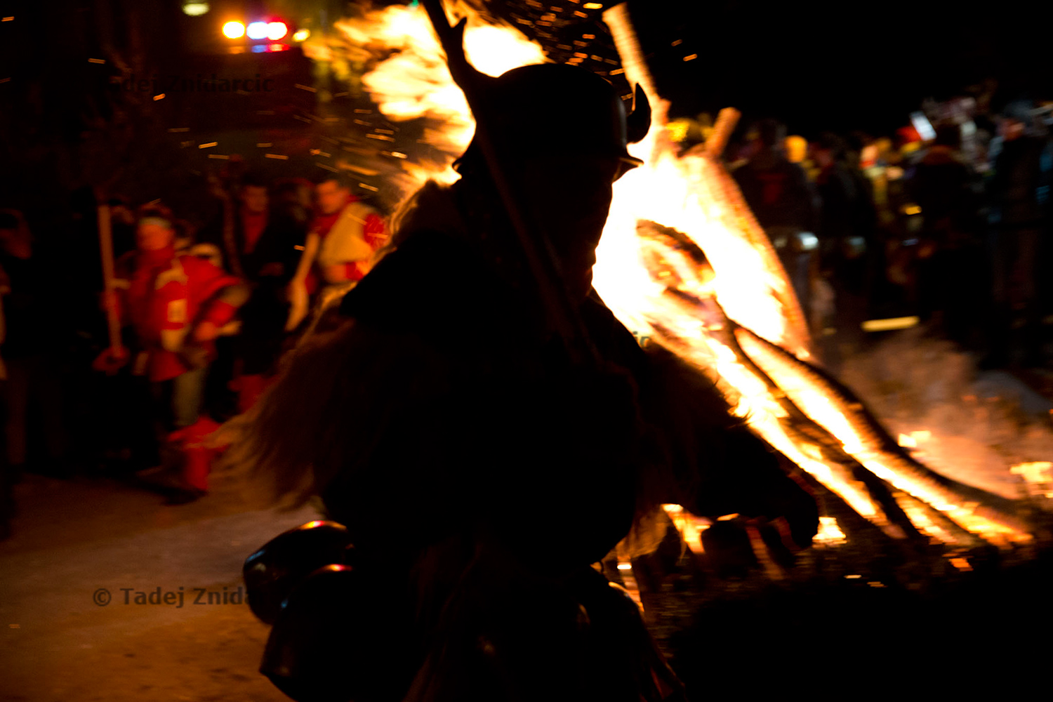 The celebrations kicked off at midnight on February 2nd with an event called 'Korant's jump'. Hundreds of koranti came to run and jump around a huge bonfire. They were not wearing the head mask yet.