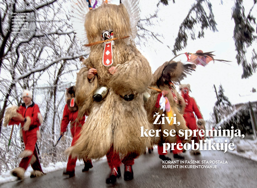 Kurenti, accompanied by devils, on the road in northeastern Slovenia (opening image by Arne Hodalic)