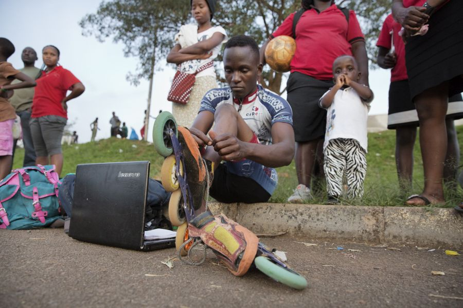 Peter prepares for practice at Mandela National Stadium.