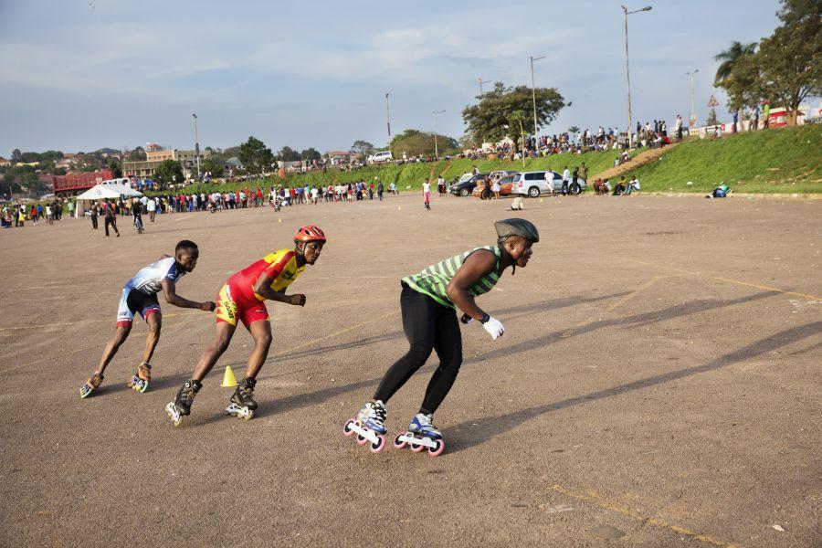 Peter and teammates practice at Mandela National Stadium.