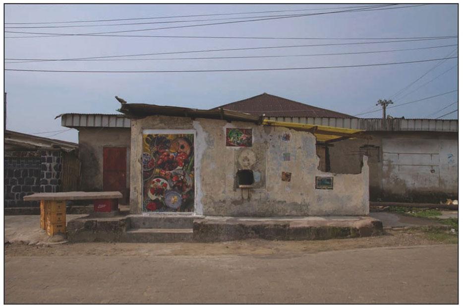 DLA MIXER, FRONT WALL Permanent Public Displayin Douala as part of SUD Festival. Curated by Doual'art. Copyright Malala Andrialavidrazana 2013.