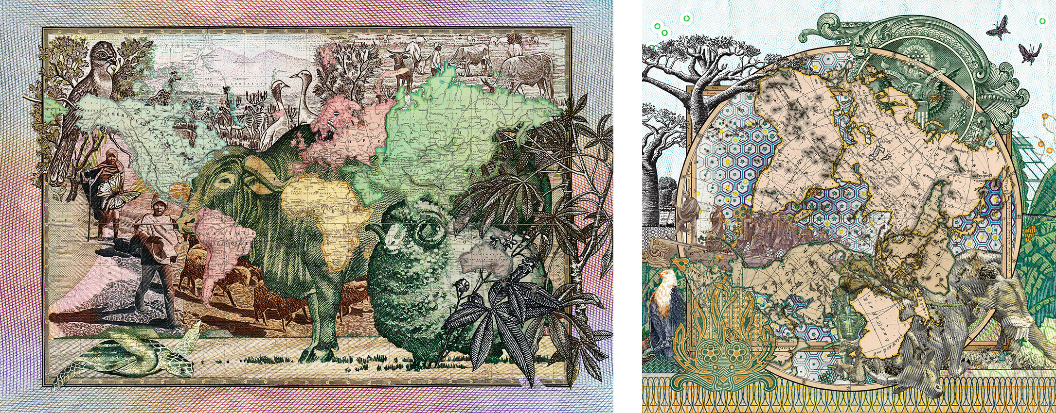 Figures 1862, Le Monde Principales Découvertes   (image left)     Figures 1816, Der Südliche Gestirnte Himmel vs Planiglob der Antipoden   (image right)