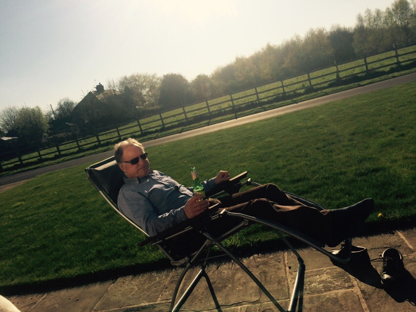 Dad kickin back with a beer