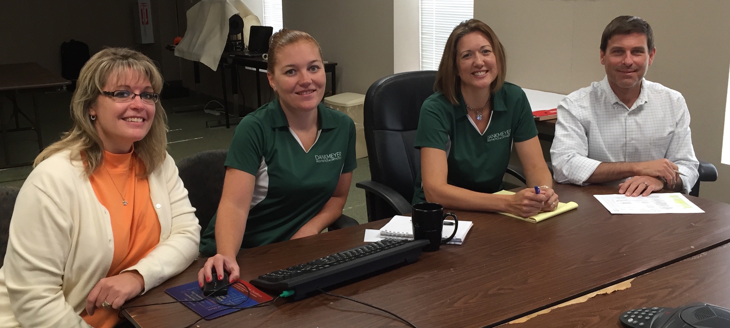 One of our patient care teams working to provide the best in patient services: Kristin Boswell, Courtney Booth, Mary Reedy CP, and Mark Hopkins CPO, PT.