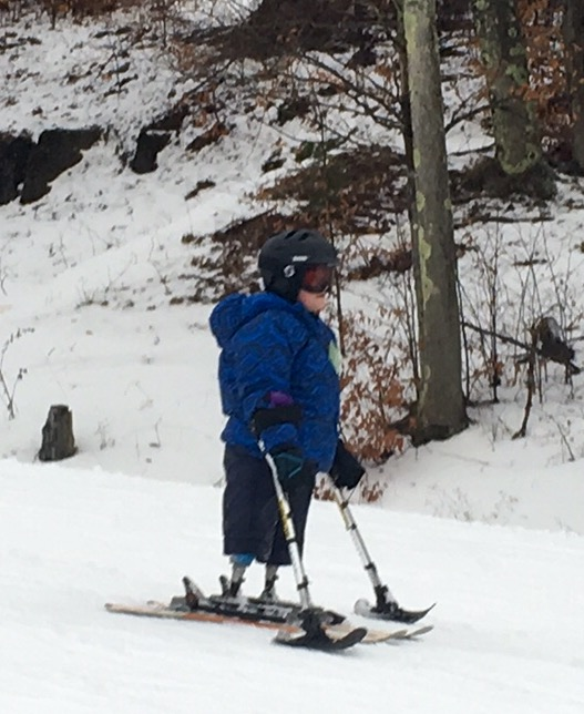Eric Flynn using his skis last year.