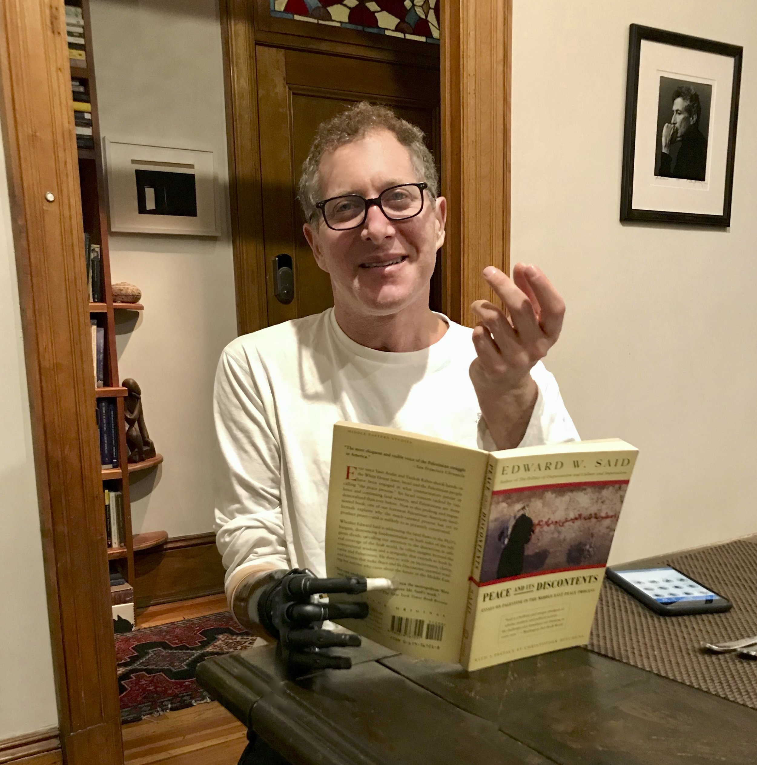 "Andrew Rubin: ""This picture portrays one of the most fulfilling experiences I have had so far: that after 15 years, I can now hold a book, while lecturing and gesticulating with my other hand."""