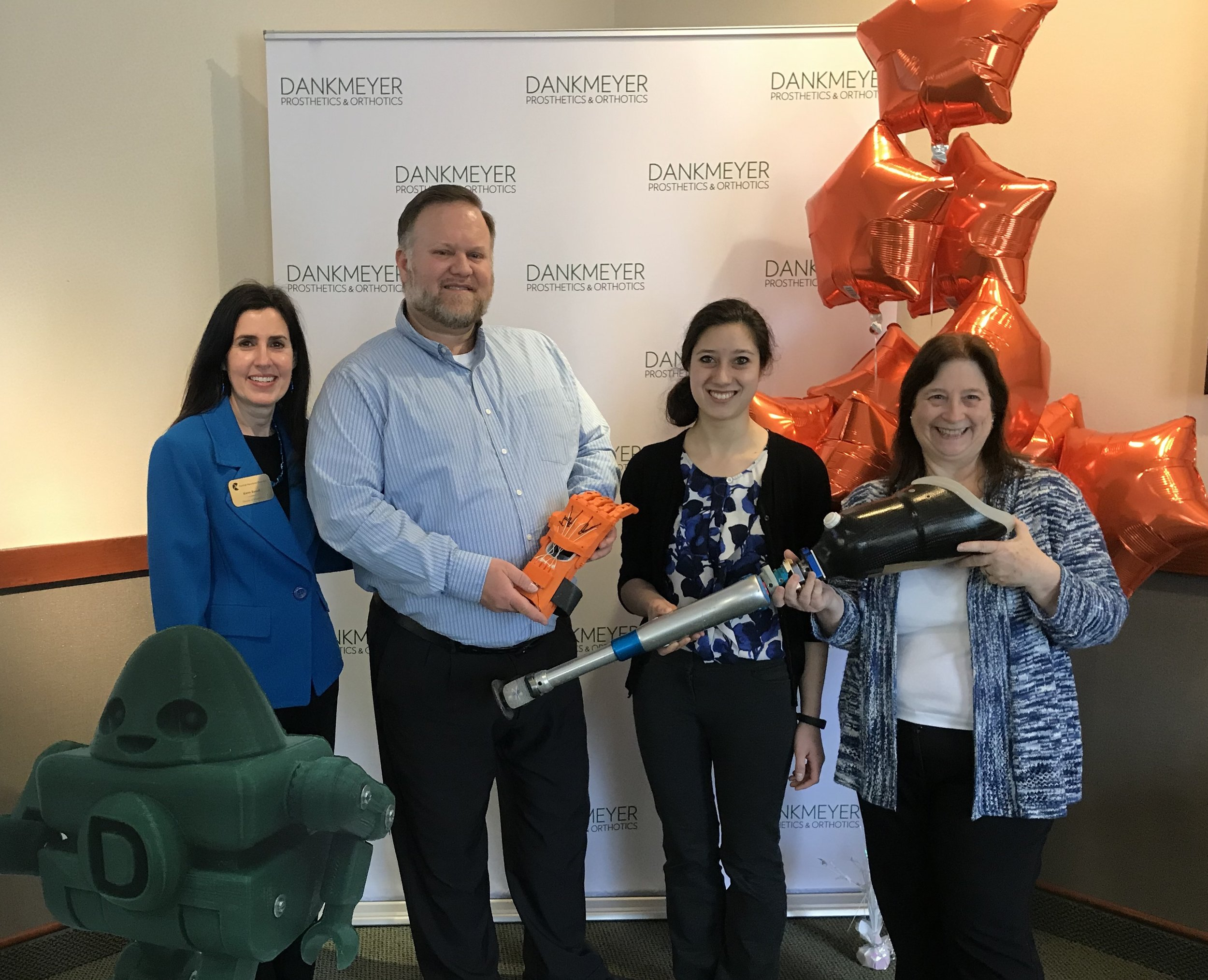Karen Russell. with the Central Maryland Chamber of Commerce, along with Robb Brown, Rochelle Dumm and Barbara Delorenzo, kick off Limb Loss Awareness month at Dankmeyer.