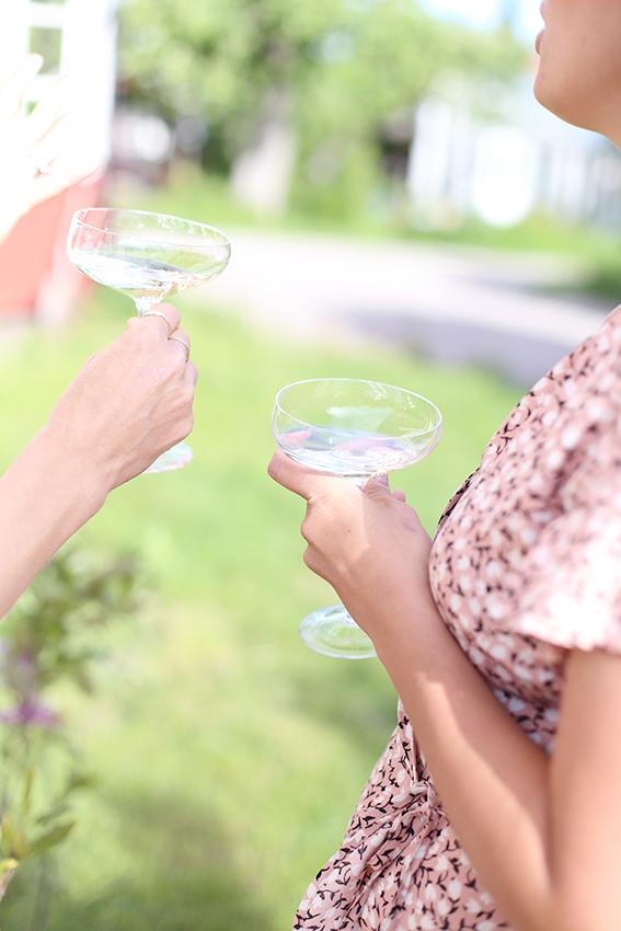 Det serverades bubbel i de här fina glasen  Coupe från Eva Solo  och jag kunde inte sluta prata om hur mycket jag uppskattade det tunna glaset och den nätta foten, som jag vid tillfälle märkligt nog kallade stång. Champagne-glas-stång?!