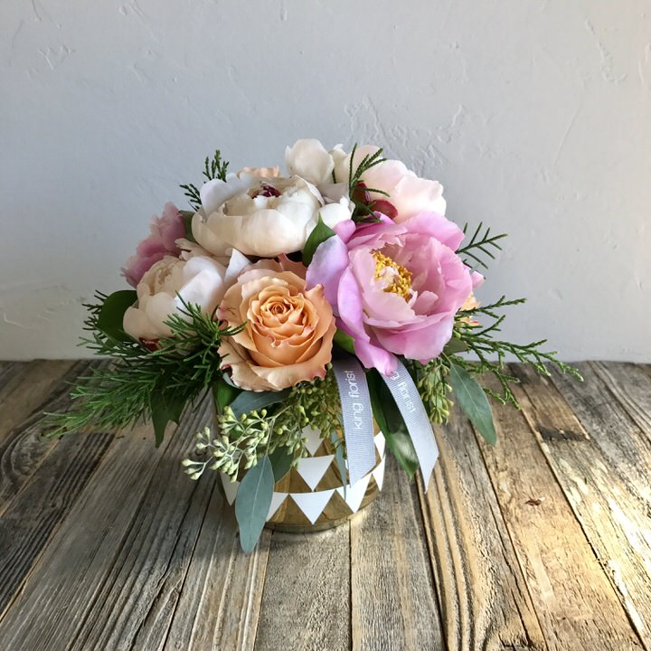 Petite Peony : Fresh cut Peonies in a modern gold and white vase accented with greenery