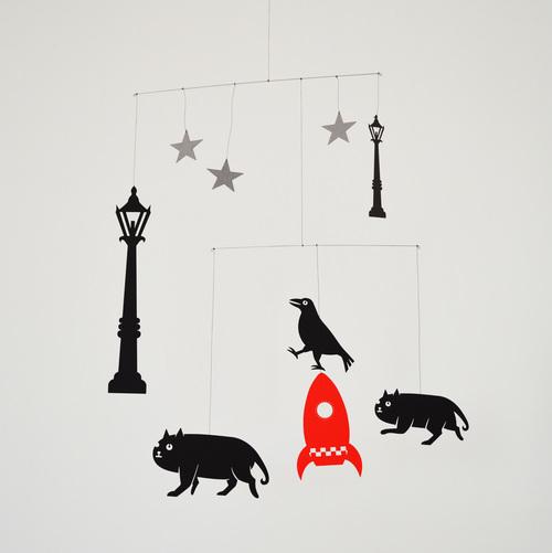 rocket cats Animal hanging mobile  Raven stars