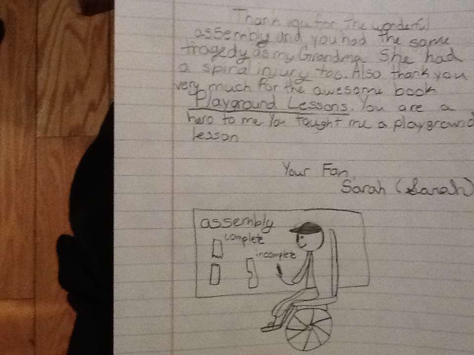 Drawing and note from student at Tincher Elementary School. Drawing is what I draw for students. Amazing!