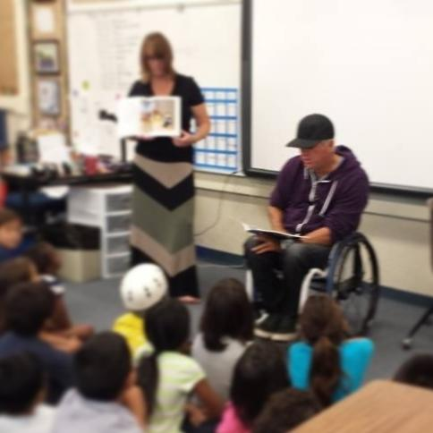 """Reading my antibullying book 'Playground Lessons"""" as part of young authors week"""