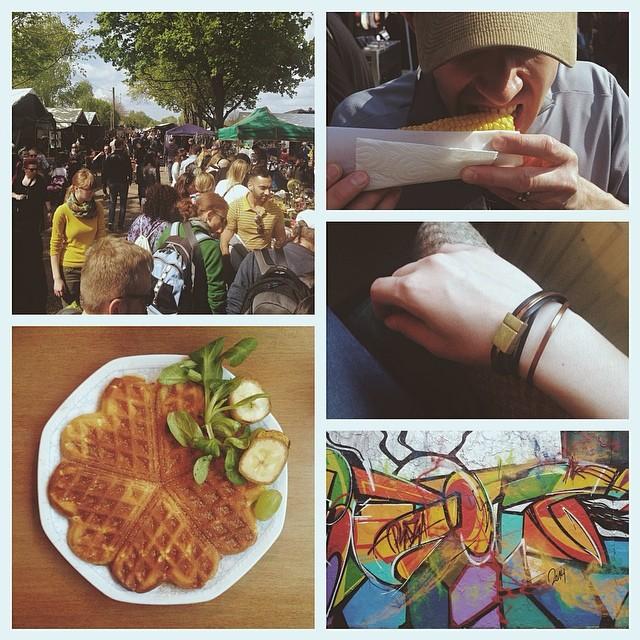 Clockwise from top left: Mauerpark flea market; corn from the market; second Berlin souvenir; colorful graffiti; cinnamon sugar waffle snack