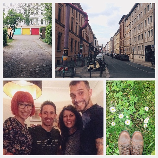 Clockwise from top right: colorful garages; spent some time exploring Mitte; cemetery daisies; a delightful dinner in the Berlin home of Sarah and Yasha