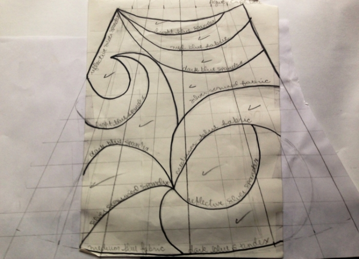 Pattern for Agwe's cape. (Sharpie, pencil & paper.)