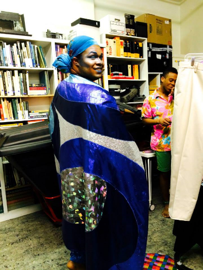 Agwe backstage in finished cape