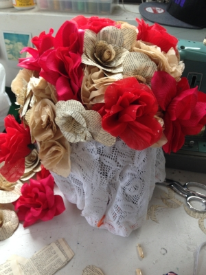 Headdress of silk and handmade paper flowers