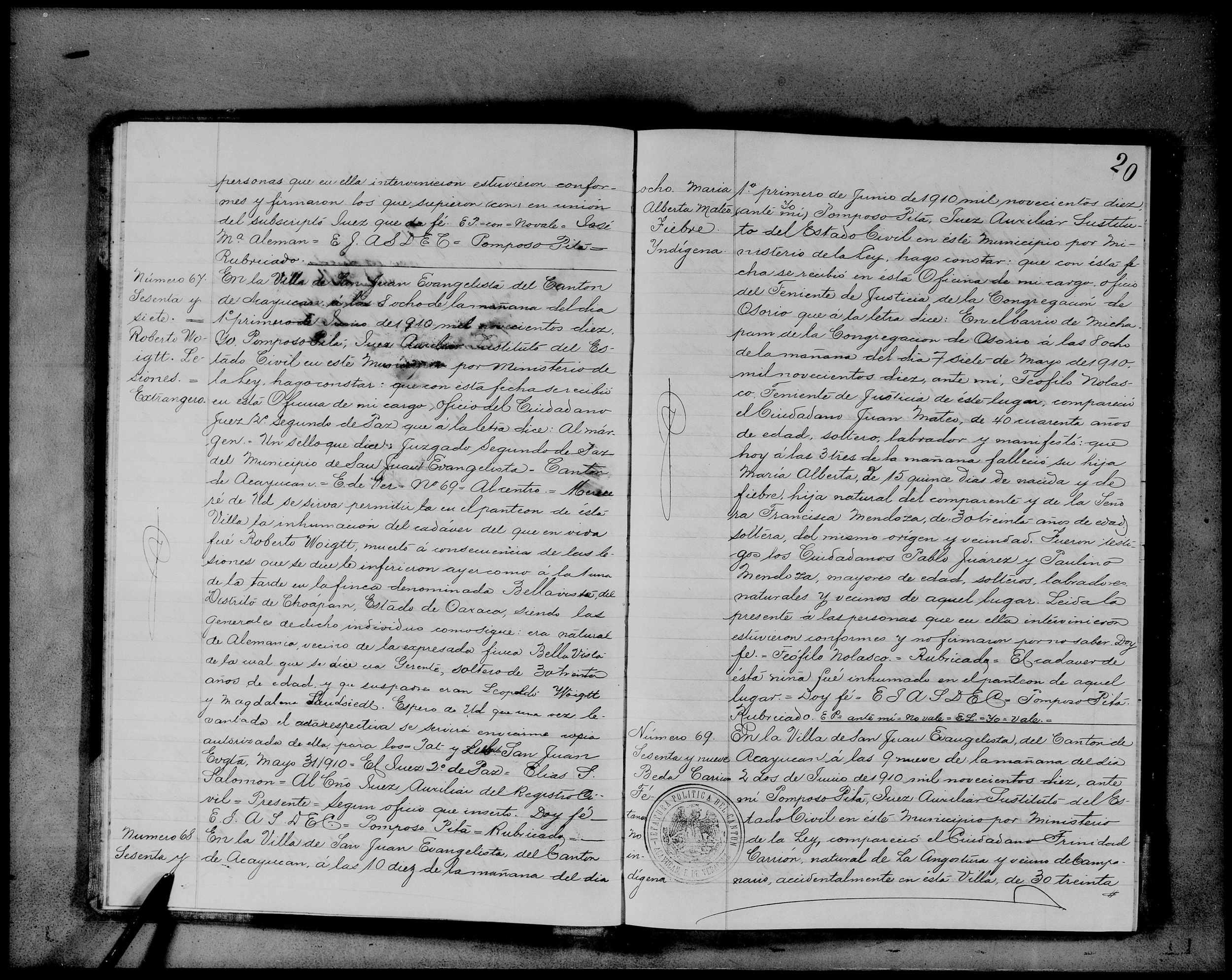 Civil Death Registration, San Juan Evangelisa, Veracruz-Llave, México, 1910